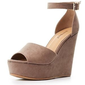 Ankle Strap Olive Green Two-Piece Wedge Sandals